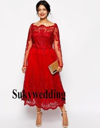 petite plus size cocktail dresses UK - Red Lace Plus Size Evening Dresses Square Neck Sheer Long Sleeve Party Prom Dresses Tea Length A line Cocktail Formal Gowns Special Occasion