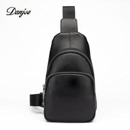 Cowskin Handbags Australia - DANJUE Waist Pack For Men Genuine Leather Chest Bag Cowskin Sling Bag Men Small Handbag Mobile Phone