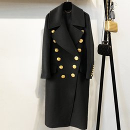 Wholesale 2018 Winter Women Black Long Blazer Coat Runway Designer Double Breasted Gold Buttoms Ladies Party Overcoat Clothing