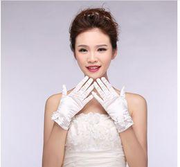 White Wedding Dresses Gloves Australia - Wholesale bride wedding dresses decorated gloves all fingers on satin stitch beads white gloves
