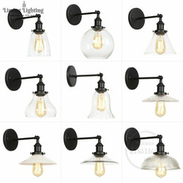 Vintage Wall Switch Australia - Wholesale Price Loft Vintage Industrial Edison Wall Lamps Clear Glass Lampshade Antique Copper Wall Lights 110V 220V For Bedroom