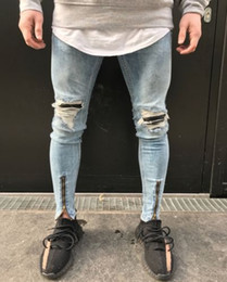 Wholesale mo jeans resale online - France Style Men Mo to Biker Jeans Straight Slim Fit Denim Pants Distressed Blue
