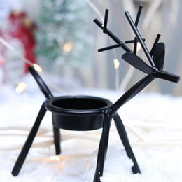 Black metal candle holders online shopping - Hot Home Festive Christmas Candle Holders Creative European Iron Art Deer Candlestick Christmas Decorations And Gifts