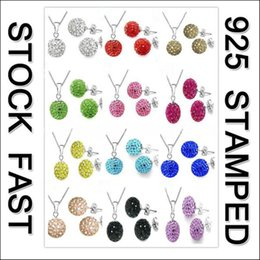 $enCountryForm.capitalKeyWord Australia - JEXXI Shiny Latest Jewelry Set 925 Sterling Silver Austrian Crystal Pave Disco Ball Lever Back Earring Pendant Necklace Women