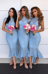 $enCountryForm.capitalKeyWord Australia - Dusty Pink Lace High Neck Mermaid Bridesmaid Dress Sexy Ankle-Length Sheath Wedding Guest Gown African Prom Evening Party Dresses BM0930