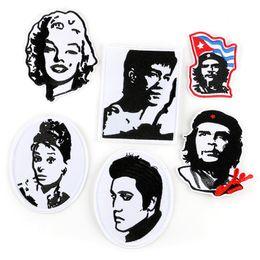 $enCountryForm.capitalKeyWord Australia - Retro Portrait Embroidery Patches Marilyn Monroe Elvis Presley Bruce Lee Sew Iron On Applique DIY Badge Patch For Kids Clothes Jacket Bag
