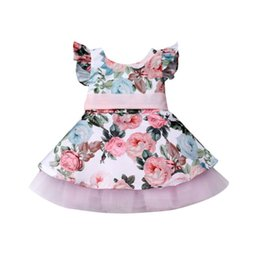 Wholesale 2019 Newborn Toddler Kid Girls Fly Sleeve Big Flower Princess Lace Floral Tutu Dress Sleeveless Sundress