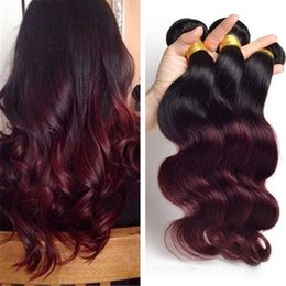 red wine ombre human hair weave NZ - #1B 99J Wine Red Ombre Body Wave Malaysian Virgin Human Hair Bundles Burgundy Ombre Hair Weaves Weft