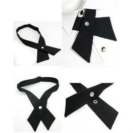 Ascot bow tie online shopping - crossover solid color black butterfly bow tie knot bowtie men s necktie women s neck ties ascot