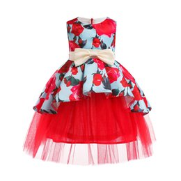 Images Formal Dresses For Girls UK - Floral Printed Flower Girl Dresses Zip up Sleeveless Jewel Neck Knee Length Formal Occasion Dresses for Prom Party Birthday Holiday