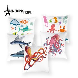 marine fish lighting NZ - Marine Life Throw Pillow Covers Colorful Cartoon Fish Cushion Case Home Decor Pillows Shell Animal High Quality Cushions Cover