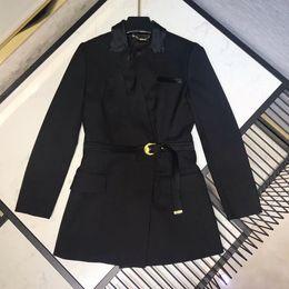 Elegant Sash Belt Australia - Office Black Jacket Coat Women Spring Long Sleeve Elegant Jacket 2019 Fashion New Women Belt Outwear