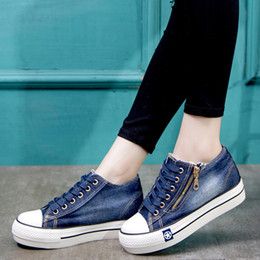 denim sneakers girls NZ - Canvas shoes for girls 2019 Spring Fashion Sneakers Solid Sewing Women Denim Shoe Sapato Feminino Size 35-41 Y200108