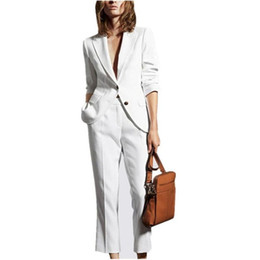 Navy womeN uNiform online shopping - Popular Women White Pants Suit Spring Summer Business Ladies Office Uniform Blazers Custom Made Suits