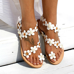 Leather Floral Sandals Australia - Women Sandals Bohemia Style Summer Shoes for Women Flat Sandals Beach Shoes 2019 Floral Flip Flops Plus Size Chaussures Femme