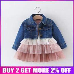 Blocks For Girls Australia - 2019 Spring Autumn Baby Infants Mesh Ball Gown Cake Color Block Dress For Girls Princess Vestido+denim Jeans Coat 2pcs Set S8236 J190614