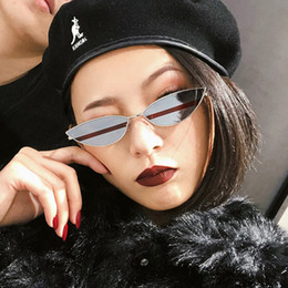 sunglasses sizes Australia - Sexy Cat Eye Sunglasses 2018 New Fashion Small Size Modern cat eye Retro Designer Women men Sun Glasses yellow Shades for Lady