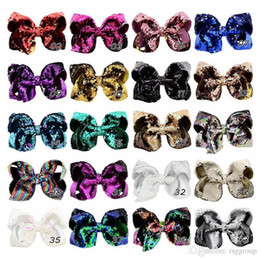 kids character ribbons UK - Free DHL Unicorn Twinkling 8inch Jojo Glitter Sequin Bow Kids Girl Ribbon Paillette Barrettes Kids Children Bling Hair Clip Hair Accessories