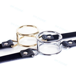 $enCountryForm.capitalKeyWord NZ - Deep Throat Mouth Open Gag leather strap Stainless steel dual 39mm O-ring Locked #R52