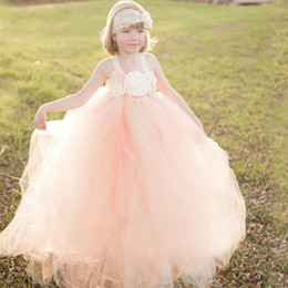 $enCountryForm.capitalKeyWord NZ - Peach And Ivory Flower Girl Dress Kids Lace Tutu Dress Christmas Wedding Birthday Party Pageants Photo Clothing Ts082MX190822