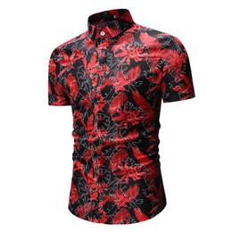 Polyester Short Sleeve Shirts Men Australia - Men shirt cotton Summer Print Turn-Down Collar Slim Fit Short Sleeve Top Shirt polyester chemise homme Broadcloth Blouse 0509