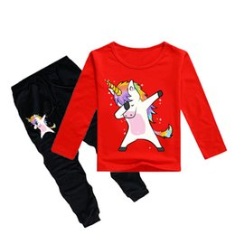 Discount 12y clothes - Unicorn Kids T-shirt +Trousers 2 Piece Sets 12 colors 1-12y Boys Girls Cartoon Printed kids clothing sets kids designer