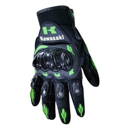 full fingered motorcycle gloves wholesale NZ - kawasaki Motorcycle Full Finger Gloves touchscreen breathable PU Leather handprotect Racing Bike Riding Offroad ATV Riding Scooter green 004