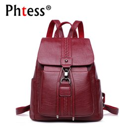 large leather travel bag women NZ - 2019 Women Vintage Leather Backpacks Ladies Sac A Dos Female Backpacks For Girls Large Capacity Travel Shoulder School Bag Girls MX190708