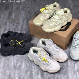 Ingrosso Desert Rat 500 Running marche famose Scarpe Moon Yellow Black Blush 2019 Designer Mens Womens Sneakers Scarpe da ginnastica Cow Leather 3M Reflective L5