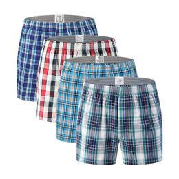 Wholesale men plaid boxer shorts underwear resale online - 2pcs Plus size plaid boxer shorts Men cotton loose pajamas boxers underwear Home soft sleepwear underpants