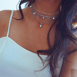 $enCountryForm.capitalKeyWord Australia - Newest Multilayer Pentagram Charm Silver Pendants Choker Necklace for Women Bohemian Silver Stone Choker Chain Necklace Trendy Jewelry