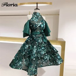 turkish soiree dresses UK - Aibye Green Shiny Prom Dresses For Weddings Turkish Evening Dress Robe de soiree Arabic Short Formal Part Dress Pageant Gowns