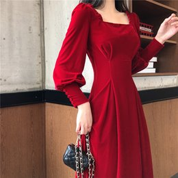 spring women velvet NZ - Spring Dress Women 2020 Vintage Velvet Dress Sexy Party Dress Vestidos T200415