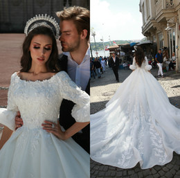 formal wedding gowns Australia - 2020 Elie Saab Ball Gown Wedding Dress Applique White Gown Dress Satin Bateau Long Sleeve Formal Dresses