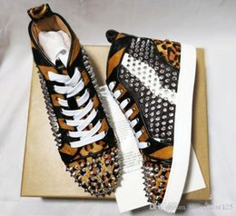 Red bottom leopaRd sneakeRs online shopping - New Brand Leopard Grain With Spikes Flats Red Bottom Shoes For Mens Women Party Lovers Genuine Leather Sneakers