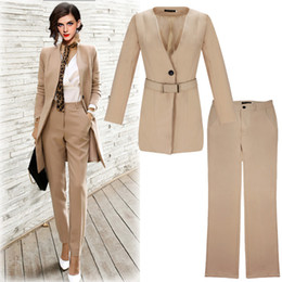 Wholesale Fashion long section ladies slimming suit business wear two piece women trousers OL overalls suit with belt