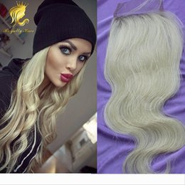 free style part lace closure UK - #613 new arrival bleached knots 4*4inches size free style unprocessed human hair blonde color lace closure body wave hair
