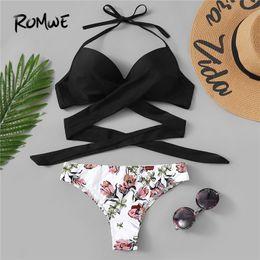 2b20982f41235 Romwe Sport Halter Push Up Underwire Bikini Top and Floral Print Bottoms  Women Bikinis Set Summer Sexy Beach Vacation Swimsuit