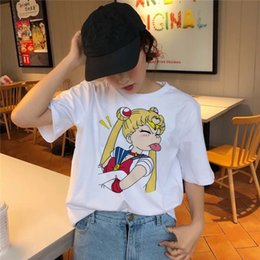 Frauen Designer Shirt Frauen Top Sailor Moon-T-Shirt Kawaii Sommer-Frauen T Harajuku Drucke Short Mouwen Ullzang Top Tee Shirts Graphical