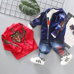 Wholesale Tiger Shirts Australia - Fashion tiger casual Boys Clothing Sets Baby Boy Clothes Boys Suits coat+T shirt+Jeans Infant Outfits Toddler Clothes baby sets A3826