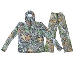 Wholesale white t shirt hood for sale – custom bionic camouflage Men s long sleeves T shirts with hood caps Hoody Sun proof clothing Lure Fishing Hunting clothes