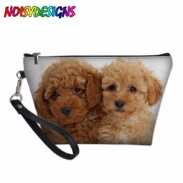 Dog Zipper Australia - Animals Poodle Dog Pattern Makeup Bags for Children Girls Storage Bag Women School Supplies Pencil Case Escolar Cosmetic Cases