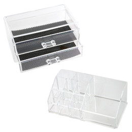 clear makeup drawers cosmetics NZ - 2-Layer Drawer Style Clear Acrylic Makeup Cosmetics Jewelry Box Case with One Jewelry Display