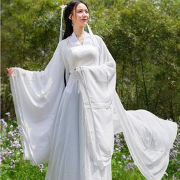 Asiatique Hanfu costume manche large robe de fée blanche guzheng costume performance portrait Tang costume long ancien costume chinois