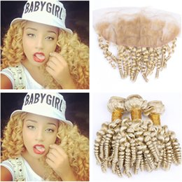 wholesale funmi human hair Canada - Aunty Funmi Russian Blonde Human Hair Bundles 3Pcs with Frontal Closure 13x4 Sprial Curly #613 Blonde Lace Frontal with Virgin Hair Weaves