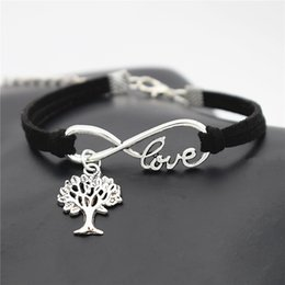 tree life pendant bracelet Australia - Fashion Silver Color Infinity Love Christmas Life Tree Pendant Bracelets & Bangles For Women Men Black Leather Suede Rope Adjustable Jewelry