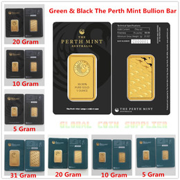 coin copies Australia - Australia Perth Mint 24K Gold Plated Bar Coins Quality Copy Collections Souvenirs Christmas Present Black & Green Sealed Package