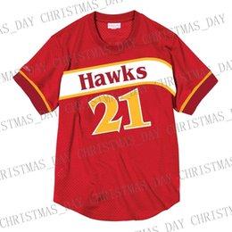 Großhandel Günstige Custom Dominique Wilkins Mitchell Ness Herren Mesh Jersey Shirt genäht Sommer Tee Retro Basketball Jersey
