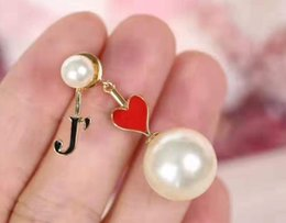 tassels j Australia - Loving J letter tassels pendant Pearl Earrings Ear nail girl
