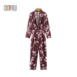 Casual Floral Women Jumpsuits UK - 2017 lady V neck vintage floral jumpsuits back split long sleeve rompers autumn women casual playsuits ankle length pants